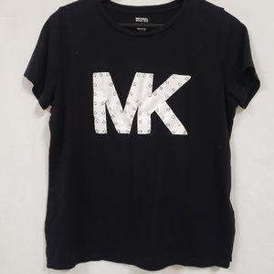 Michael Kors logo t shirt xl white black silver